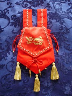 Red Velvet Pouch with Goldwork Leopard of England, Hand Embroidered onto Red Silk