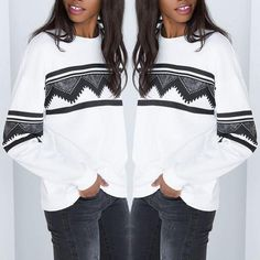 Personality Fashion Geometric Print Sweatshirts Female Pullovers Long-Sleeved Sport Sweatshirts