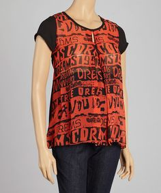 Love this Red & Black Graphic Maternity Top - Women by QT Maternity on #zulily! #zulilyfinds