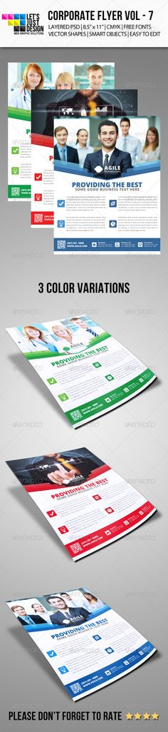 """Corporate Flyer Template Vol 7  #GraphicRiver        Corporate Flyer Template Vol 7 Features:  3 Layered PSD.  Fully Editable Files  8.5"""" x 11"""" (8.75"""" x 11.25"""" with bleeds.)   300 DPI CMYK Colors.  Print Ready Files.  Free Fonts Used ( Fonts info available in Help file.)   QR Code and Smart Objects Editing Instructions.  Support Provided.  Template color can easily be changed to any desired color. Fonts:  uBuntu: font.ubuntu   .fontsquirrel /fonts/open-sans Files Included:  3 PSD Files (3…"""