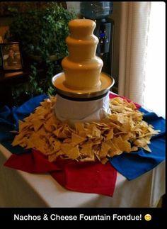 Nachos and cheese fountain. Cheese Fountain, Fondue Fountain, Fondue Party, Nacho Bar, Chocolate Fountains, Chocolate Fountain Bar, Chocolate Cheese, Nacho Cheese, Mexican Party