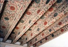 Ceiling Painting, Ceiling Murals, Wall Murals, Wood Ceilings, Ceiling Beams, Painted Ceilings, Painted Beams, Wallpaper Ceiling, Room Paint