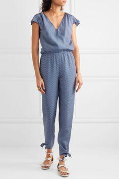 Paloma Blue - Manhattan Embellished Printed Silk Crepe De Chine Jumpsuit - Navy