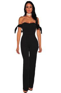 ff3448633b Black Off Shoulder Tie Knot Strapless Jumpsuit