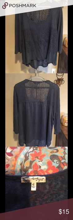 CHIC & SHEER TOP Chic & sheer blue-gray tunic style top by ABOUT A GIRL. Cute decorative edging on bottom. Top is in excellent condition. About a girl Tops Tunics
