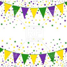 Mardi Gras bunting background with confetti