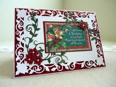 "#S6-040 Spellbinders ""Holiday"" Collection ""5x7 Holly Frame"" #4/4 card sample  (Site: video w/4 card samples)"