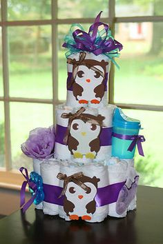 Baby Girl Owl Diaper Cake Baby Shower Decor or Gift on eBay!