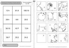 Und jetzt umgekehrt: Dividieren statt Multiplizieren  Passend zum Thema unserer momentanen Projektwoche Märchen  habe ich ein Rechenpuzzle ... Division, Dyscalculia, Puzzle, School Frame, Second Grade Math, Math For Kids, Blog, Quad, Puzzles