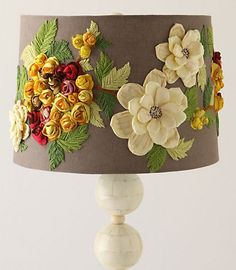 anthropologie flower lamp shade. just remake it with embroidery thread and Michael's flowers.
