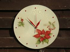 Wall clock red flower poinsettia large hanging clock for wall flower theme decor unique wall clocks Handmade Wall Clocks, Unique Wall Clocks, New Home Presents, Wall Clock Gift, Clock Flower, Hanging Clock, Metal Hangers, Flower Wall Decor, Modern Wall Decor