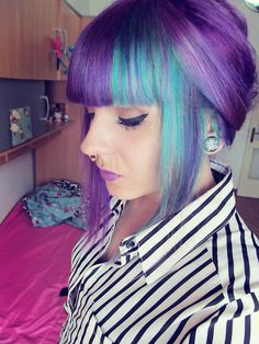 Purple and blue/turquoise hair color #septum #earstretch #makeup #haircolor #makeup