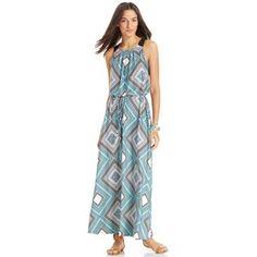 NY Collection Geo-Print Blouson Halter Maxi Dress