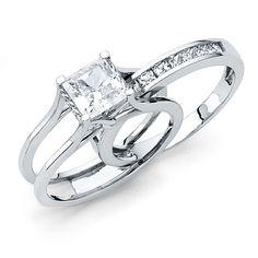 14k White Gold Wedding Engagement Ring - Size 4