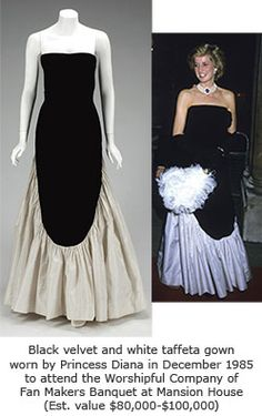 I love this dress! It's one of those things that looks so much better ON than it does on the hanger (or headless mannequin).  It's black velvet and white taffeta, and was worn by Princess Diana in December 1985, when she attended the Worshipful Company of Fan Makers Banquet at Mansion House.  Love the fan, too!