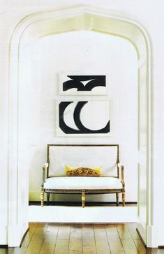 A lot to love: the beautiful pop of abstract art brings this all together for simple elegance.