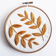 "Leaves Embroidery Pattern Pdf pattern Home decor PDF Digital Download 5"" embroidery hoop DIY Home De"