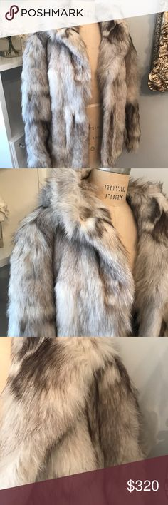 Fur jacket, fur coat Selling this real rabbit fur jacket that my dad gave me. Never been worn.   Hip length movie star style. Has a hood. Shades of silver and grey.   Comes in the fur vault garment bag.   Size large Jackets & Coats