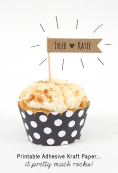 the NEW Printable Adhesive Kraft Paper is perfect for custom cupcake flags and other party accents!