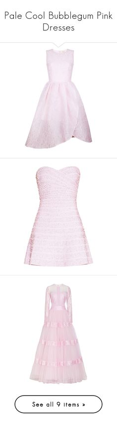 """""""Pale Cool Bubblegum Pink Dresses"""" by tegan-b-riley on Polyvore featuring dresses, abiti, pink cocktail dress, pink sparkly dress, pink dress, full midi skirts, sparkly dresses, herve leger, pearl dress and pink strapless dress"""