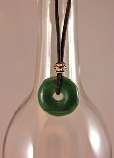 Recyced wine bottle necklace handmade by by greenglassstudio, $15.00
