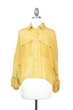 yellow polka dot blouse - pair with navy slacks or capris