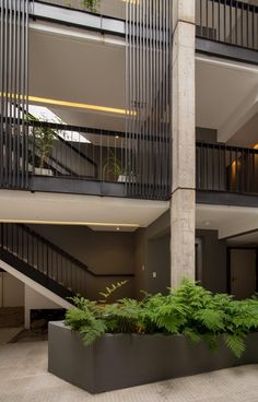 The Mendoza 3268 apartment building consists of two volumes facing each other and communicated by exterior runways and stairs. Building Elevation, Building Facade, Building Design, Hospital Architecture, Space Architecture, Open Concept Office, Front Design, Coastal Living, Interior And Exterior