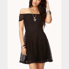 Nwt F21 Off Shoulder Black Knit Skater Dress From