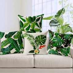jungle plant cushion cover monstera cojines decorativos modern green throw pillow case leaf almofada(China