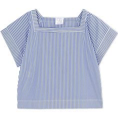 Stella Jean Blouse found on Polyvore featuring tops, blouses, blue, blue blouse, blue short sleeve top, blue top, stripe blouse and short sleeve tops