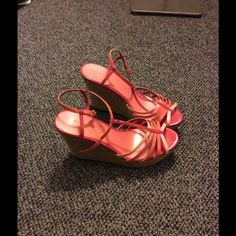 Strappy pink wedges Adorable pink and salmon colored wedges. Perfect for spring and summer. Great with jeans or a cute dress. Worn only twice. Christian Siriano Shoes Wedges