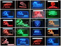 "NFL Team Lights - FREE Delivery • Click on image for awesome view. • Solid state technology Simply plug it in and behold a beautiful lighted glowing sign for displaying in your window, Man Cave, Dorm, Bar, Home, Restaurant etc. • Logo and all four sides light as you can see in image – Awesome! • Solid state no batteries needed. • Size: W 12""x H 9"" Available at: Sportsworldwest.com"