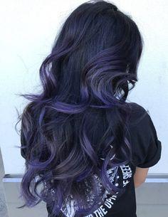 Purple Blue Balayage For Black Hair