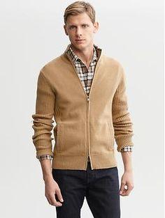 Extra-fine merino wool rib-knit sweater jacket   Banana Republic
