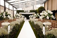All white decor for weddings.