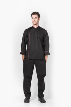 Simple and elegant, the Paris jacket delivers a touch of sophistication in the kitchen. Long sleeve with turn back cuffs, sleeve pocket. Asymmetrical Design, Chefs, Chef Jackets, Contrast, Normcore, Elegant, Long Sleeve, Sleeves, Cotton