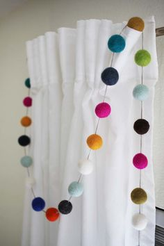 Make a Felt Ball Garland the Easy Way, DIY and Crafts, Add some colorful cheer to your home! This simple felt ball garland is a fun way to add some color and interest in an unexpected spot. Pom Pom Crafts, Felt Crafts, Diy And Crafts, Simple Crafts, Decor Crafts, Felt Ball Garland, Pom Pom Garland, Pom Pom Curtains, Star Garland