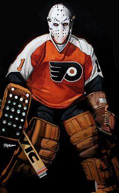 Bernie Parent Philadelphia Flyers by Michael Pattison by Michael Pattison Flyers Hockey, Hockey Goalie, Hockey Players, Ice Hockey, Rangers Hockey, Blackhawks Hockey, Philadelphia Eagles Merchandise, Philadelphia Sports, Hockey Girls
