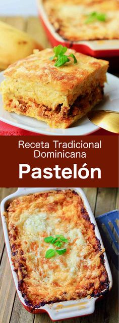 Dominican Republic: Pastelón de Plátano Maduro Pastelón de plátano maduro is a Dominican dish composed of plantains, ground meat, cheese and herbs, that is popular throughout the Latin Caribbean. Carribean Food, Caribbean Recipes, Mexican Food Recipes, Beef Recipes, Cooking Recipes, Dutch Recipes, Dominican Republic Food, Plantain Recipes, Food Porn