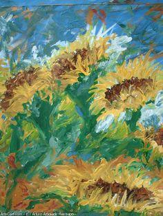 Artwork >> Arturo Arboleda Restrepo >> #sunflowers  #artwork, #oil, #painting, #masterpiece, #contemporary, #beauty, #extraordinary