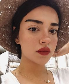 bold brows, bright red lips, even skin tone + glow | natural makeup look