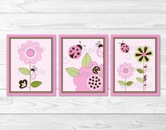 Pink Ladybug Flower Nursery Wall Art por LittlePrintsParties