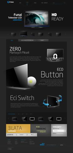 Funai website by Adam Łazorko, via Behance - when the product page is better than the front page you know you got something special