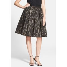 MILLY 'Monica' Metallic A-Line Skirt ($94) ❤ liked on Polyvore featuring skirts, gold, metallic skirt, a line skirt, metallic pleated skirt, knee length a line skirt and pleated skirt