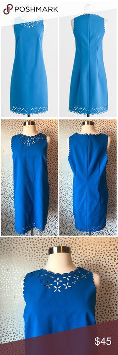 J. Crew Factory Blue Laser Cut Sheath Dress So cute and perfect for work or play! Excellent pre owned condition! Size 12 petite. Blue with laser cut details and back zip. No trades!! J. Crew Factory Dresses