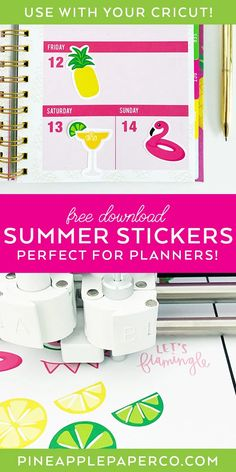 Download Printable Planner Stickers, Printable Invitations, Free Printables, Monogrammed Stationery, Papers Co, Summer Crafts, Sticker Paper, Planners, Pineapple