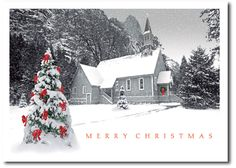 Quaint Country Church Merry Christmas Holiday Cards by THE OFFICE GAL