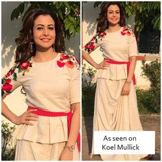 Celebrity Actress Koel Mullick spotted in Keyus! Designer Gowns, Indian Designer Wear, Designer Kurtis, Dress Neck Designs, Blouse Designs, Long Kurti With Skirt, Muslim Fashion, Indian Fashion, Navratri Dress