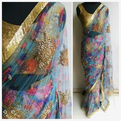 How can you not love this sari? Embellished floral print net sari. Find us at www.facebook.com/waidurya