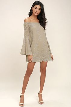 Elevate your look to star status with the Sway My Way Light Taupe Embroidered Off-the-Shoulder Dress! Slightly sheer Georgette is adorned in pierced floral embroidery, forming an off-the-shoulder neckline (with no-slips strips), and long bell sleeves. Darted shift bodice has a mini skirt with scalloped hem. Hidden back zipper/clasp.